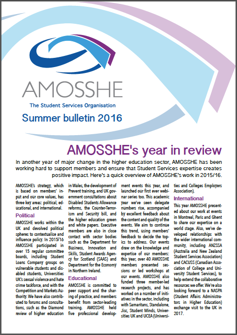 AMOSSHE bulletin summer 2016 (opens in a new window)