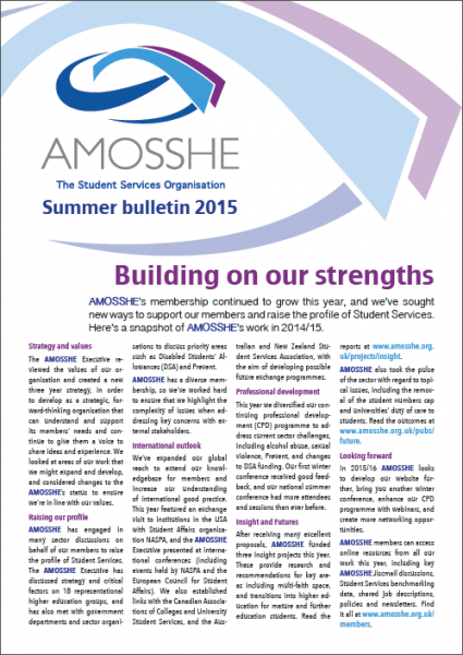 AMOSSHE bulletin summer 2015 (opens in a new window)